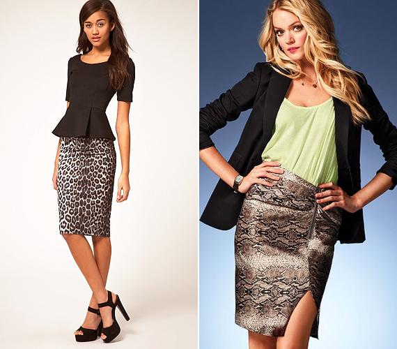 Az állatmintás modellek a vintage és modern glamúr stílushoz egyaránt jól passzolnak. Az előbbi egy peplum fazonú felsővel, az utóbbi pedig divatos fagylaltszínű blúzzal és kiegészítőkkel lehet teljes.