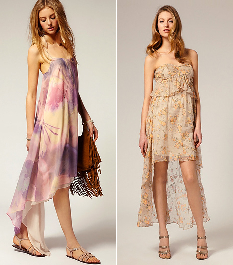 Aszimmetrikus ruha  A fátyolesésű aszimmetrikus ruhák viselésére nem sok esélyt adott a szeszélyes nyár, hiszen ezek a darabok csak kánikulában érvényesülhetnek. Az idei trendek egyáltalán nem ellenzik a bohém rétegezést, így az sem számít divatsértő kihágásnak, ha a lenge muszlinruhádat a bőrdzsekiddel barátkoztatod össze. Ám vigyázz, nehogy beleszaladj a tévedések csapdájába, ugyanis az aszimmetrikus fazonok teljesen alkalmatlanok arra, hogy velük búcsúztasd a nyarat, kivéve persze akkor, amennyiben utoljára még hajlandóak jól befűteni a napsugarak. Felemás időben azonban sem kardigánnal, sem blézerrel, sem dzsekivel nem mutatnak jól.