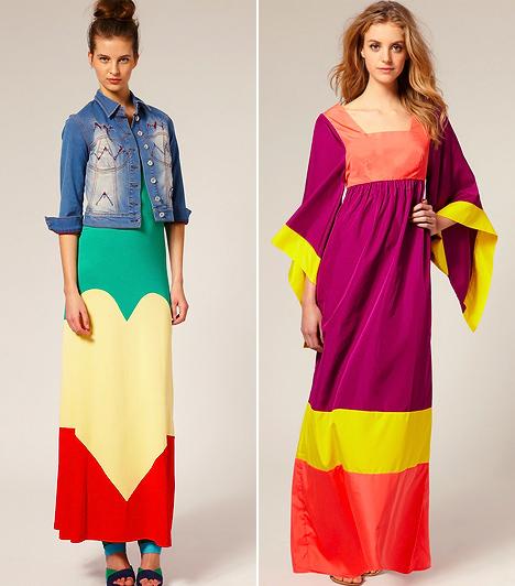 A color blocking és a maxiruhák  A color blocking egy angol kifejezés a színkeverő trendre, mely a legharsányabb árnyalatokat elegyíti az öltözékekben. A vérpezsdítő tónusokat felvonultató színblokkoló irányzat lett a legpimaszabb bizonyítéka annak, hogy a régi divatszabályok igenis felrúghatóak, vagyis az összeférhetetlennek hitt domináns színek valójában tökéletesen együtt tudnak működni. Ám kivételek itt is akadnak: úgy tűnik, a maxiruha a color blocking legnagyobb vesztese, hiszen ekkora felületen elburjánzanak a féktelen árnyalatok és a végeredmény csupán egy őrült kavalkád lesz.
