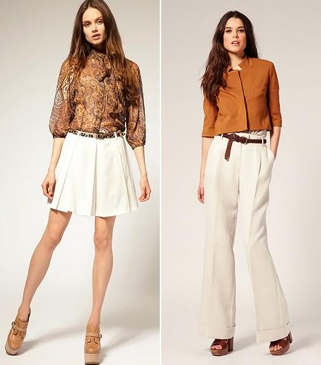 Világos nadrágok  A fehér és krémszínű nadrágokat sem kell még véglegesen vállfára akasztanod, mert az idei ősz a világos árnyalatoktól sem fog idegenkedni. Az élére vasalt vászongatyókkal és a rakott szoknyanadrágokkal a hetvenes évek stílusát hozhatod vissza. Arra ügyelj, hogy a bő fazonú, magasított derekú modellekhez mindig rövid szabású blézert vagy kabátkát végy fel! A tervezők mustáros tónusokkal, avarszínekkel és élénk pirossal ültették őszi hangulatba a friss, világos árnyalatokat. Esős időben azonban tartózkodj az efféle viselettől.