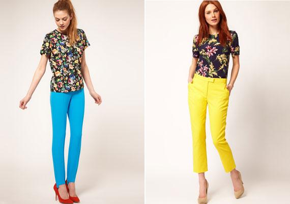 Az élénk színek most nagyon divatosak, de a lábakat vastagnak mutathatják. Ha szereted őket, akkor viseld pólón vagy blézeren.