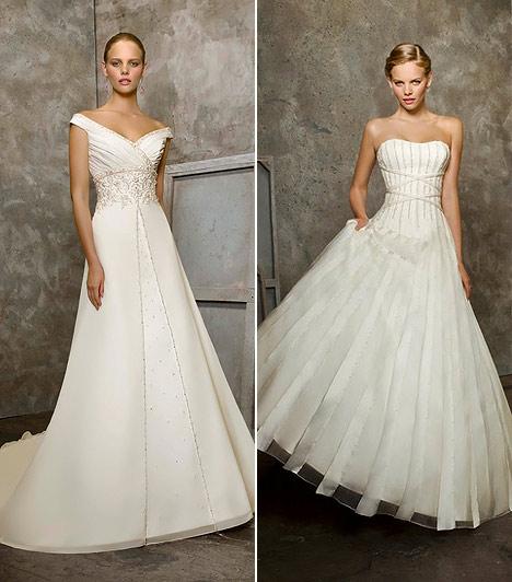 Alaknyújtó ruhák  Úgy érzed, minden menyasszonyi ruhában eltűnsz? Az alacsonyaknak bizony nem kedvez a rétegelt anyagrengeteg, ám számodra is van megfelelő kreáció. Az A-vonalban kiszélesedő, átlapolt mellrészű ruhák nemcsak karcsúsítanak, hanem megnyújtják az alakod. A szoknya legyen egyszerű organza, mely csupán egy derékig futó háromszögalakban hímzett, ám ott is diszkréten. A terebélyes aljú fazonok közül keress olyat, amit függőleges fémszálak vagy selyemcsíkok díszítenek.