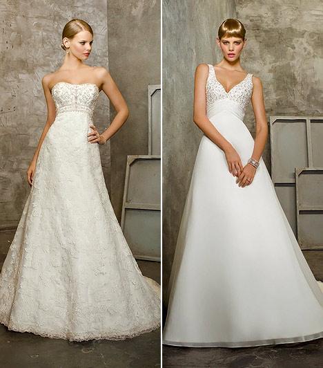Empire-szabású ruha  A pocakot ledolgozni a legnehezebb, így nem biztos, hogy pont az esküvőd napjára sikerül. Ám egy szolid empire-szabású ruhával leplezheted a nemkívánatos területet, továbbá megnyújtja az alsó feled, minek következtében a széles csípő, nagy fenék problémája is egy csapásra megszűnik. Ha nem zsákszerűen bő, hanem kecses A-vonalban szélesedő fazonokat próbálsz, nem kell attól félned, hogy egy nagy fehér pacának fogsz tűnni az oltárnál. Olyat nézegess, ami kiemeli a dekoltázsod.
