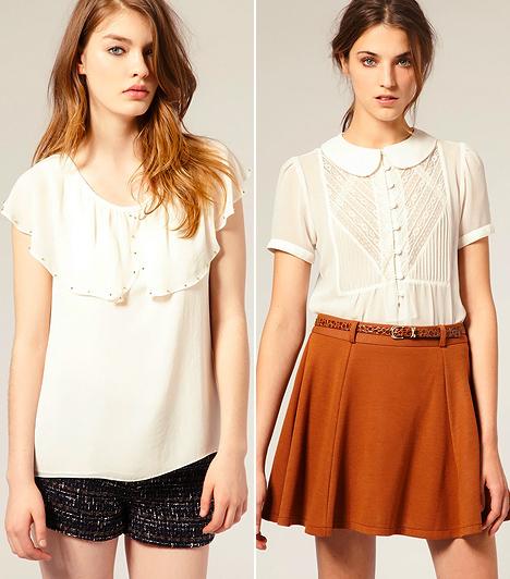 Fehér blúz  A gyerekkori emlékeidben a fehér blúz talán az alkalmi uniformist jelenti, de ne hidd, hogy nincs benne több stíluslehetőség. A körgalléros variációkat leginkább a diáklánystílus és az irodamódi preferálja: az előbbi kicsit vadóc és édeskés öltözéket kíván, az utóbbi pedig némi visszafogottságot. A Lolita-trend kedvelői bátran dobják fel a fehér blúzukat pöttyös vagy élénk színű szoknyákkal, esetleg pasztelles, virágmintás rövidnadrágokkal. A munkahelyeden viszont répafazonú vászonnadrággal, farmerral vagy egyszínű szoknyával viseld.