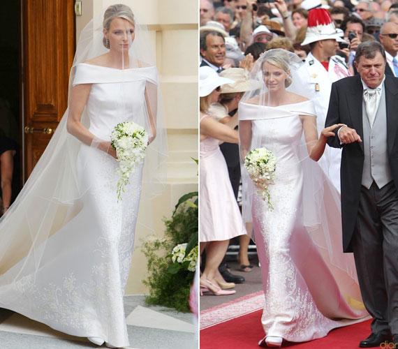 Charlene Wittstock Armani ruhája gyönyörű, de nem biztos, hogy kárpótolja a menyasszonyt, aki a pletykák szerint szökést tervezett az esküvő előtt.