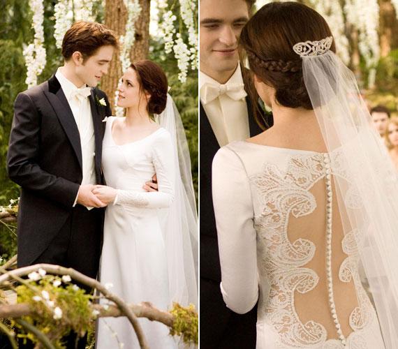 És a végére egy nem valós esküvő. Bella Swan ruhája gyönyörű, nem véletlen, hogy minden második most házasodó ezt akarja viselni Amerikában.
