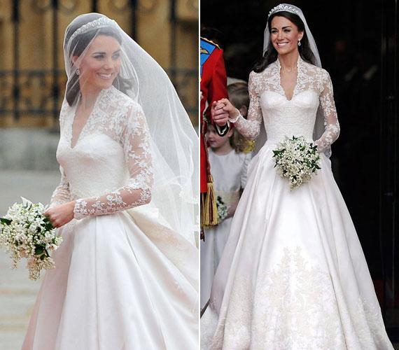 Nagy titkolózás övezte a tervező személyét. A csodás ruha Sarah Burton munkája az Alexander McQueen--háztól.