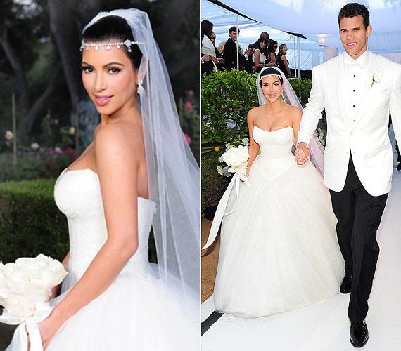 Kim Kardashian szintén Vera Wangben mondta ki az igent, sokak szerint egy hamis esküvőn.