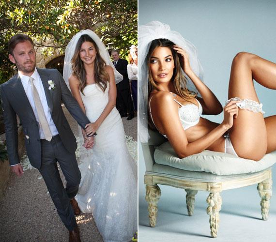 Lily Aldridge modell Amerika kedvencét, Vera Wanget viselte. Korábban ő népszerűsítette a Victoria's Secret esküvői fehérneműit.