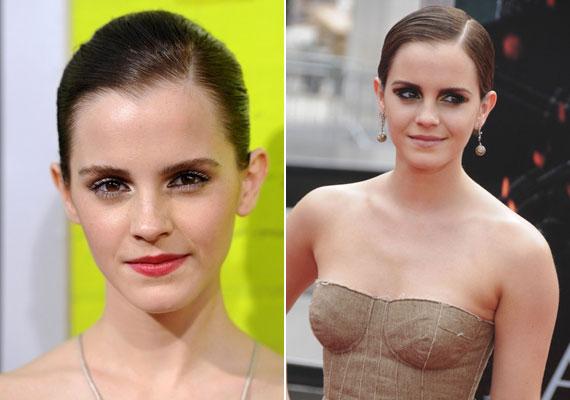 Emma Watson szorosan lesimított haja is elegáns és szép lehet, ha szabályos az arcformád, alkalmi sminkkel társítva pedig egyáltalán nem fiús, inkább húszas évekbeli bájt kölcsönöz.