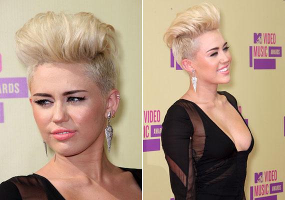 Még az oldalt felnyírt hajból is készülhet drámai, alkalmi frizura, ahogy az Miley Cyrus haján is látszik.