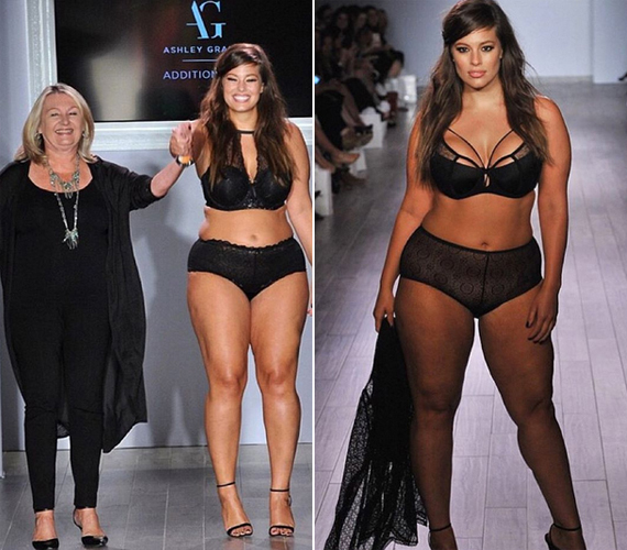 Ashley saját fehérnemű-kollekciójának darabjaiban: balra az Addition Elle elnöke, Janice Leclerc mellett, jobbra pedig abban a szettben, amit a kedvenceként jellemzett az Instagram-oldalán. Ashley-t nem csak a nők, de a férfiak is szexinek és kifejezetten nőiesnek titulálják.