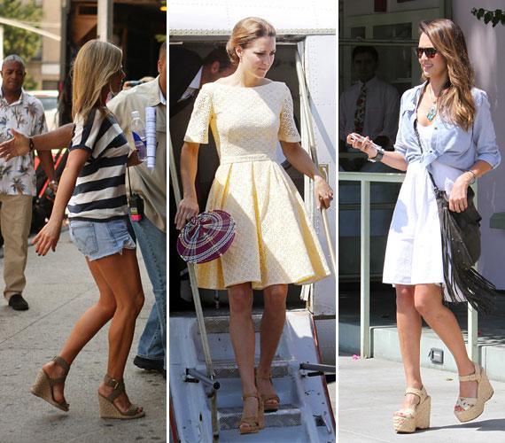 Jennifer Aniston, Katalin hercegné és Jessica Alba is a natúr színű platform szandálra esküszik, mert jól tudják, ez hosszítja leginkább a lábat. Az éktalpú szandálban kényelmesen lehet közlekedni, akár egész nap is, úgyhogy ez egy tuti befutó a mindennapokban!