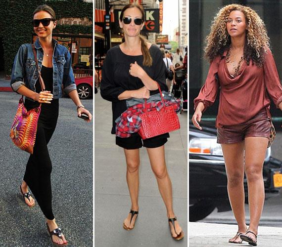 A fekete akkor is jó választás, ha a rohangálós hétköznapokra inkább lapos talpú szandált szeretnél. A lábujj között rögzített fazon azért így is jótékonyan alakítja a láb formáját.Miranda Kerr, Julia Roberts és Beyoncé három nagyon különböző alkatú nő, mégis mindegyiküknek jól áll ez a típus.