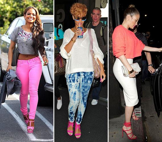 A merészebb hölgyeknek pedig itt az idei élénk divatszínek közül a pink!Christina Milian, Rihanna és Jennifer Lopez temperamentumához nagyon jól passzol.