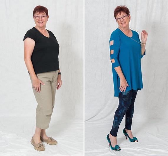 A hasi hízásra hajlamos, alma alkatú nőknek nagyon érdemes ellesni a jobb oldali képen látható összeállítást. Míg a csinos leggings és a cipő kiemeli a lábak karcsúságát, addig a laza felső leplezi a hasat.