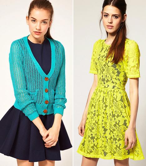 Neonszínek                         Bár a kilencvenes évek trendje hozta magával a rikító színeket, a colorful divatnak köszönhetően minden stílusra kiterjesztik az uralmukat. A neonsárga és neonzöld, valamint a vibráló türkizkék és narancs árnyalatok a régi irányzatokat is átszínezik.