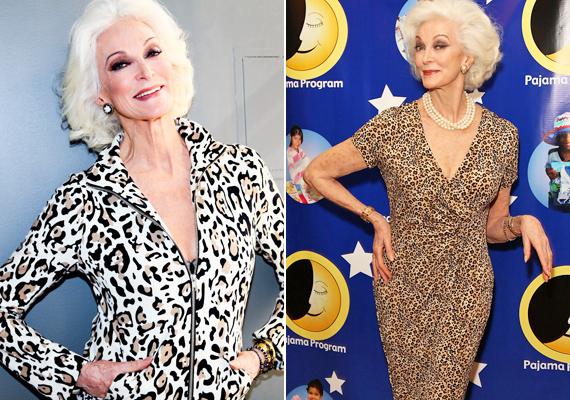 Carmen 82 éves létére nem riad vissza az állatmintáktól sem. Anélkül tudja viselni ezt a stílust, hogy közönséges lenne.