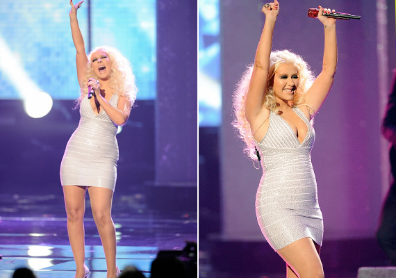 Rossz választás volt a csillogó miniruha az énekesnő részéről, ugyanis a flitterek visszatükrözik a színpadi reflektorok fényét, így optikailag kövérítenek.