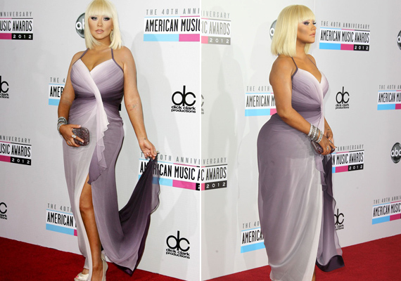 A színátmenetes ruha előnyös abból a szempontból, hogy derékban karcsúsítja az énekesnőt, szemből csodásan fest benne, de az anyag csúnyán ráfeszül a hátsó felére, kiemelve annak túlzott gömbölyűségét.