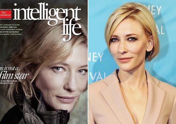 Cate Blanchett az Intelligent Life címlapján vállalta be a smink nélküli megjelenést. Jól látszik, hogy a színésznő bőrét már kikezdték az évek, ennek ellenére gyönyörűen fest a képen.