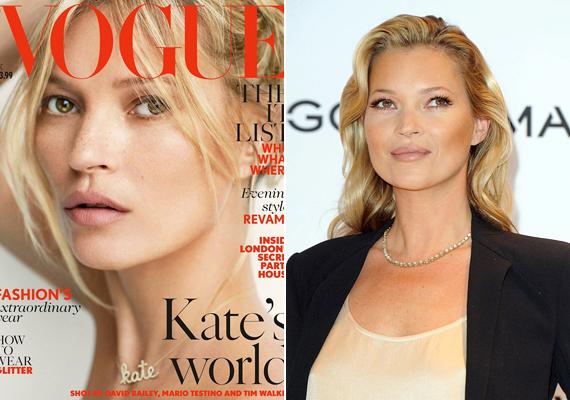 Az angol Vogue 2014. decemberi számának címlapjáról a szexis, szeplős Kate Moss köszön vissza, akinek 40 évesen is csodálatos a bőre. Bár a jobb oldali képen sminkben látható, most már tudjuk, hogy erre aligha van szüksége.