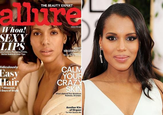 Kerry Washington a hétköznapokban is csak visszafogottan sminkel, nem meglepő tehát, hogy az Allure magazin hasábjain naturális valójában is vállalta a fotózást.