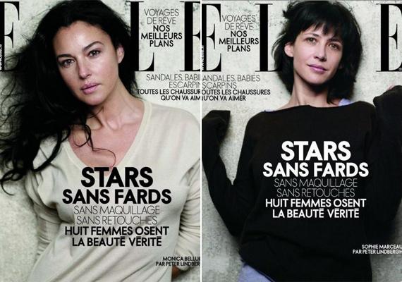 2009-ben a francia Elle magazin több lapszámon keresztül retusálás nélküli címlappal jött ki: többek között Monica Belucci és Sophie Marceau is vállalta a természetes szereplést, pedig ekkor már mindketten 40 év felett voltak.