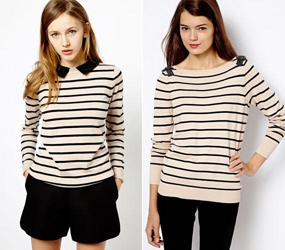 A csontszín és a fekete sokkal jobban mutat együtt, mint a fehér és a fekete. Az egyszerű csíkos pulóvert könnyen fel lehet dobni egy gallérral vagy más finom kiegészítővel.