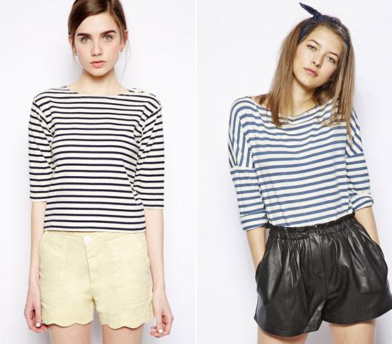 Pár egyszerű, kék csíkos pólót mindenképpen érdemes beszerezni, magában, blézerrel, bőrkabáttal is tökéletes.