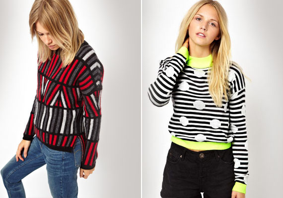 A tervezők néha a mintával is mellélőnek. Ízléstelen összevisszaság, össze nem illő színek és formák - ez jellemzi a fenti két pulóvert.