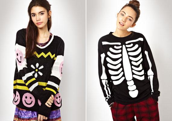 Talán mosolyt szerettek volna csalni az emberek arcára ezzel a két pulóverrel, ám inkább nevetségesre sikerültek a csontvázzal és a kelekótya mintázattal.
