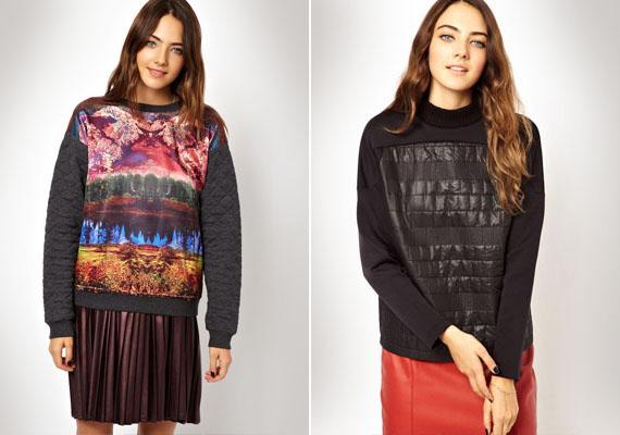 Ezek a pulóverek sem a legcsinosabbak. Steppeltek, ami már önmagában is csúnya, a bal oldali ráadásul furcsa mintázatot is kapott, ami tovább rontja a helyzetet.
