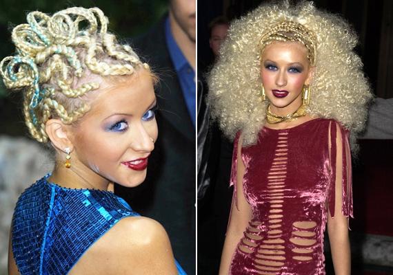 Christina Aquilerának is vannak melléfogásai, ez a csavart fonat és az afrofrizura sem állt jól az énekesnőnek.