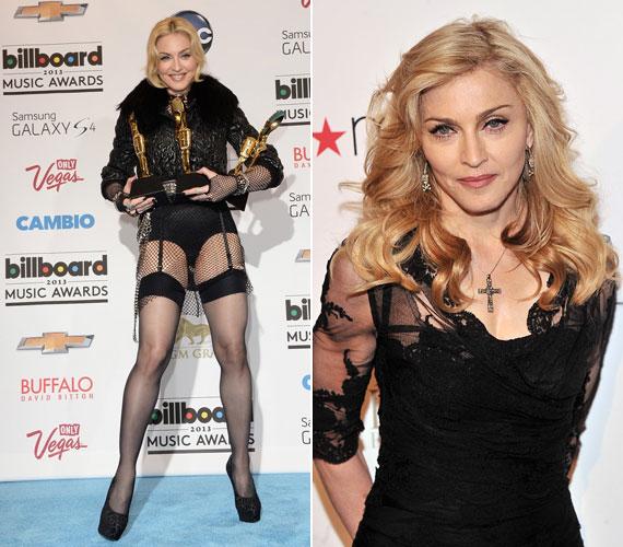 Madonna mindent megtesz, hogy elfelejtesse, hogy 55 éves. Ha kell plasztikáztat, annyit edz, hogy a karja már többnek néz ki, és szívesen mutogatja magát teljesen lehetetlen öltözékekben.