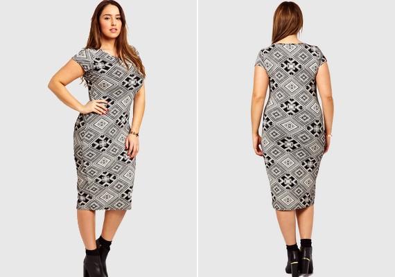 Olyan helyekre is pluszkilókat varázsol optikailag a testhezálló, mintás ruha, ahol egyébként nincsenek.