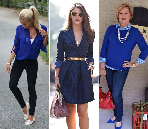 A kék letisztultsága kiemelheti a nő szépségét, mert nem hivalkodó, nagyon rendezetté teszi a külsőt, és tökéletes terepet biztosít a nagyobb kiegészítőknek.