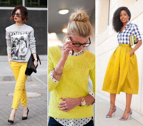 A sárga más árnyalatai is divatosak lesznek. Ettől a vidám színtől sokan tartanak, mert feltűnő, de éppen ez az erőssége. Ha félsz, hogy sápaszt, akkor viseld nadrágként vagy szoknyaként. Garantáltan magadra vonzod majd a tekinteteket.
