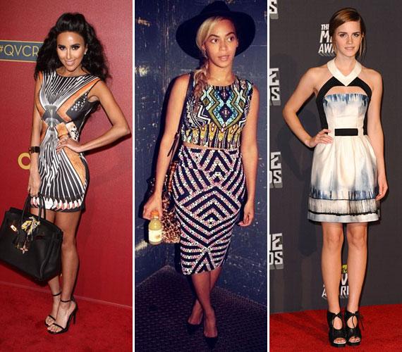 Kim Kardashian, Beyoncé előszeretettel karcsúsítja alakját a trükkös, geometrikus rajzolatú mintákkal. Az új irányzatnak Emma Watson sem tud ellenállni, aki nőiességét szeretné hangsúlyozni a geometrikusan kialakított felsőrésszel.A játékos minták mindenképpen frissességgel töltik meg a ruha viselőjének megjelenését, ezért csak ajánlani tudjuk neked is. Hogy hol találsz ilyet? Lapozz tovább, és megmutatjuk!