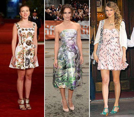 A romantikusabb beállítottságú hölgyek figyelmébe a virágokat ajánljuk, melyek folytatják hódító útjukat a divat világában - akár egzotikus, akár romantikus mintával, egy ilyen ruhácska biztos, hogy rengeteget fiatalít majd rajtad.Scarlett Johansson, Keira Kneightly és Tylor Swift egyaránt imádják a virágokat, melyek segítségével hamvas nőiességükre tudják felhívni a közönség figyelmét.