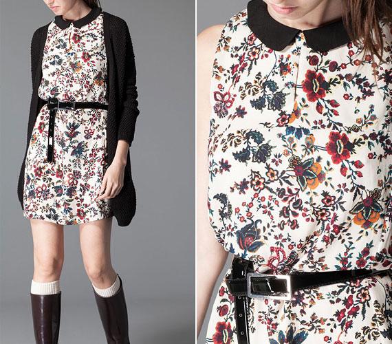 Vidám virágos ruha, kevés feketével, ami nagyon nőiessé teszi az egészet. Éppen ezért ezzel a színnel remekül kombinálható. A ruha 9590 forintba kerül.