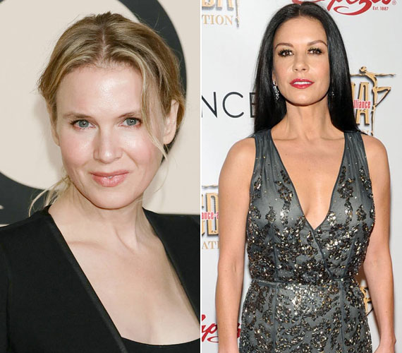 René Zellweger és Catherine Zeta Jones is 1969-ben született, és mindketten kés alá feküdtek. Az amerikai színésznő arca azonban sajnos teljesen elvesztette egyedi vonásait, míg brit kolléganője megőrizte természetes báját.