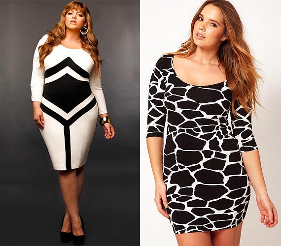 A fekete-fehér, geometrikus mintájú ruhák roppant divatosak manapság, de a széles, széthúzó mintázatokat és a szűk fazonokat jobb elkerülnöd, ha nem akarod erősíteni a gömbölyded idomaidat.