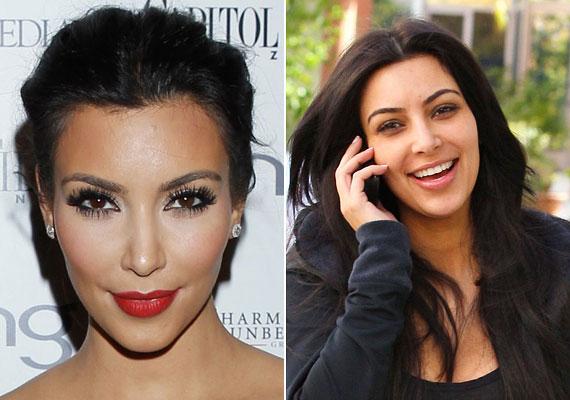 Kim Kardashian sminkje szinte páncél vastagságú. Arckontúrja mondhatni legendás, ugyanakkor semmi baj nincs a sminkeletlen arcával, de hát ő mindig tökéletesnek akar tűnni.