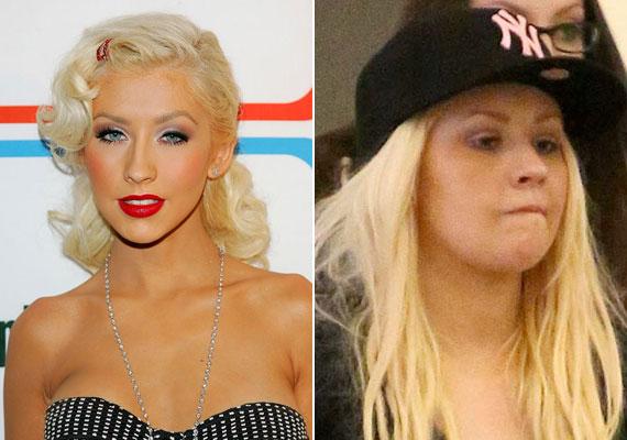 Az állandóan hízó-fogyó Christina Aguilera piros rúzs és jó adag bronzosító nélkül nem nagyon teszi ki a lábát otthonról, csak elvétve találni róla fotót, amin kendőzetlen arccal látható.