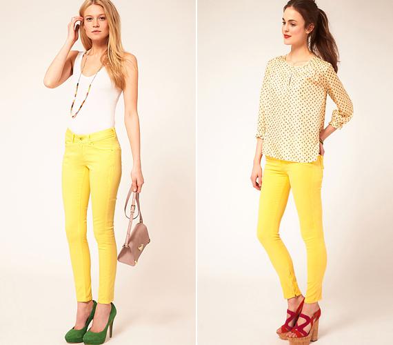 A feltűnő sárga szín idén nagyon kelendő a divatban. Az efféle farmernadrágokhoz magabiztos stílusérzék szükséges, mert nem mindenhez passzolnak.