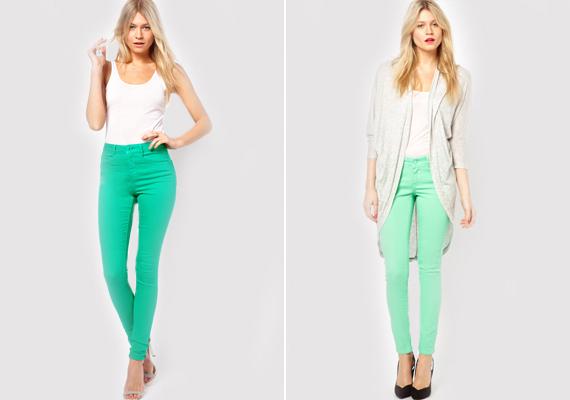 A divatszínek idén a farmerokon is megjelennek. A képen egy smaragdzöld és a mentazöld farmer.