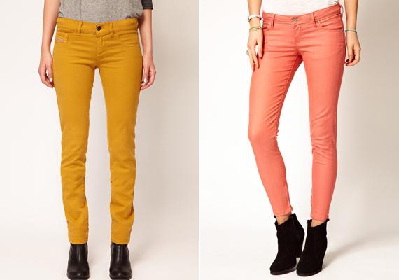Pipaszárlábakon különösen jól mutatnak a színes nadrágok, különösen, ha egyenes vagy kissé A-vonalú a szabásuk.