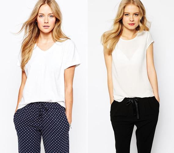 A klasszikus fehér póló V-nyakkal, illetve enyhén áttetsző anyagból: mindkettő példa arra, hogyan lehetsz egyszerre lezser, és mégis nőies.