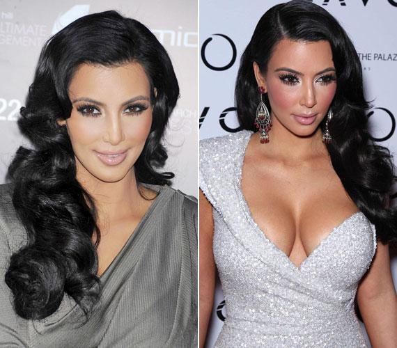 Kim Kardashian sminkje ugyan bohócszerű, de a haja nagyon rendben van.